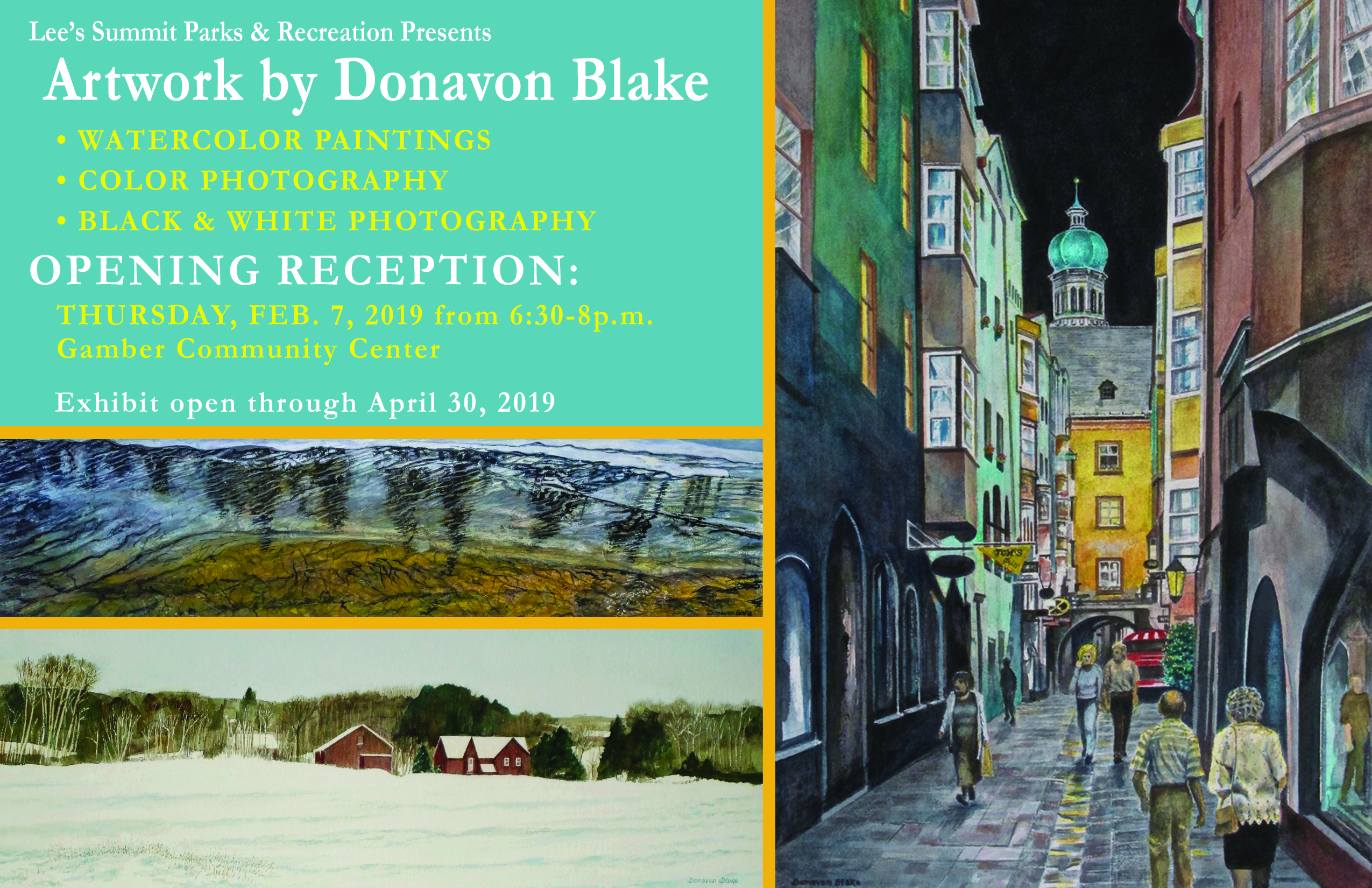 Artwork by Donavon Blake, Thursday, Feb. 7 from 6:30 - 8PM