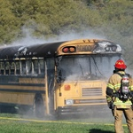 LSFD Assists National Association of Pupil Transportation with Burning Bus Demonstration