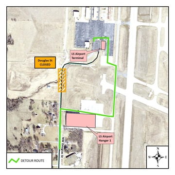 NE Douglas Street Near Lee's Summit Municipal Airport Set to Close on Monday, May 13