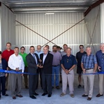 Municipal Airport's new t-hangars with a ribbon cutting ceremony