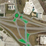 Illustration of diverging diamond and roundabout (diverge-about) at Route 291 South & US Hwy 50 in Lee's Summit.