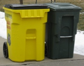 Image of residential trash canisters.
