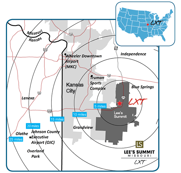 Image showing the proximity of the Lee's Summit Municipal Airport to other KC Metro attractions or locations.