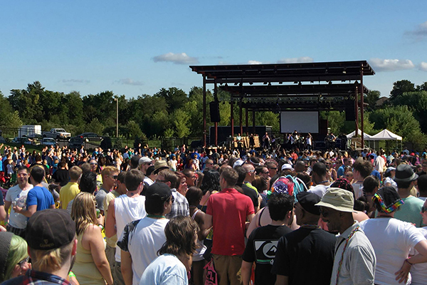 Crowd in front of the stage at Legacy Park Amphitheater.