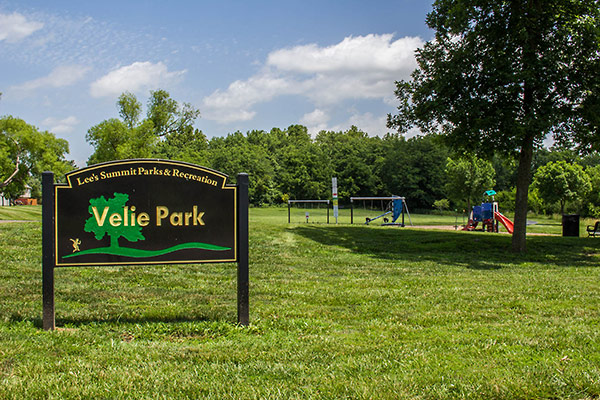 Image of Velie Park sign and playground