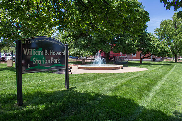 Image of William B Howard Station Park sign and fountain