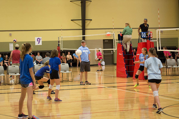 Image of indoor youth volleyball
